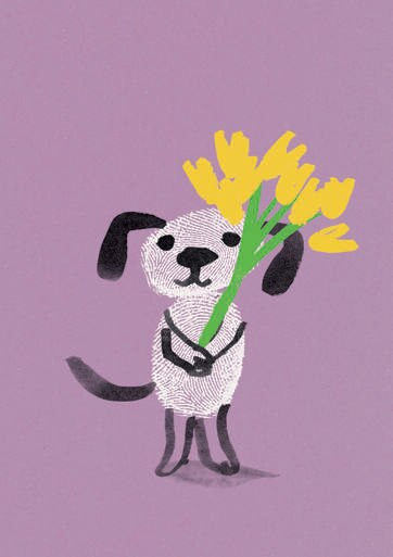 Marion Deuchars Dog With Flowers Card